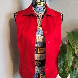 EXPRESS Vibrant Red Sleeveless Button Up Vest